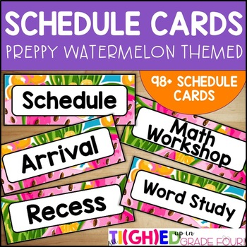 Schedule Cards {Tropical & Preppy Watermelon Themed}