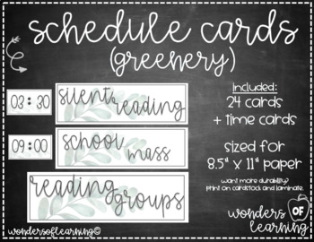 Schedule Cards Watercolor Farmhouse Leaves  - EDITABLE