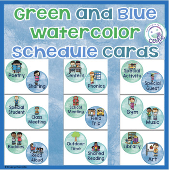 Schedule Cards: Watercolor Green, Blue, and Purple!