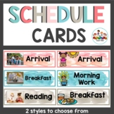 Schedule Cards Watercolor Pink and Teal