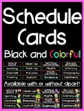 Schedule Cards With or Without Clip Art (Black and Colorful Series)