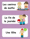 Schedule Cards in French