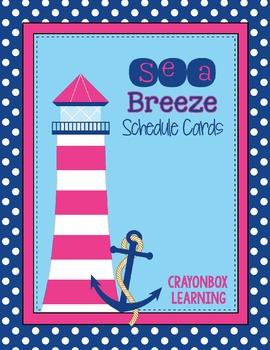 Schedule Cards in Navy & Pink, Nautical Ocean -  With edit