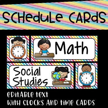 Schedule Cards in a Primary Bright Rainbow~Editable