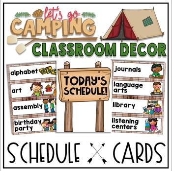 Schedule Cards in a Camping Classroom Decor Theme