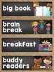 Schedule Cards in a Chalkboard and Burlap Classroom Decor Theme