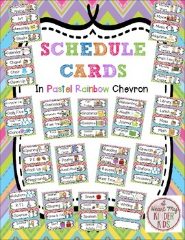 Schedule Cards in a Pastel Rainbow Chevron Design