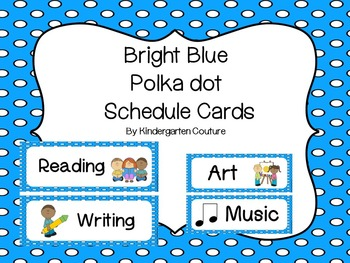 Schedule Cards on Bright Blue with Polka Dots