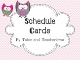 Schedule Cards - pink chevron (with blank clock pages)