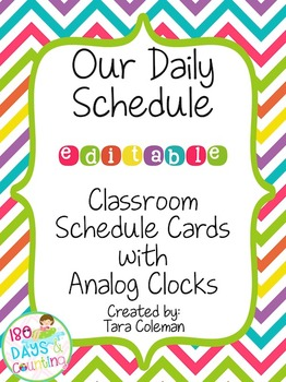 Schedule Cards with Analog Clocks~Editable (bright chevron)
