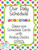 Schedule Cards with Analog Clocks~Editable (bright polka-dots)