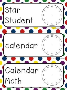 Schedule Cards with Analog Clocks~Editable (primary polka-dots)