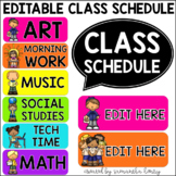 Schedule Cards with Clipart (EDITABLE)