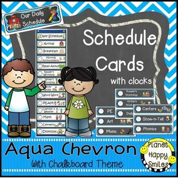 Schedule Cards with Clocks, Aqua and Chalkboard Theme