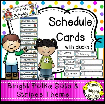 Schedule Cards with Clocks & EDITABLE blank slide ~ Bright  Polka Dots & Stripes