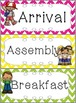 Schedule Cards for fixed daily non-subject routines - Chevron version