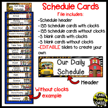 Schedule Cards with Clocks ~ Jungle/Safari Theme