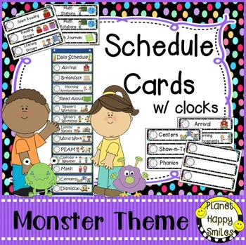 Schedule Cards with Clocks, Monster Theme