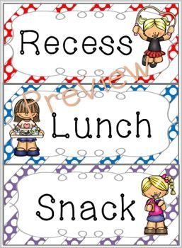 Schedule Cards for fixed daily non-subject routines - Polka dot stripes