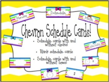 Schedule Cards with Clocks! Rainbow Chevron