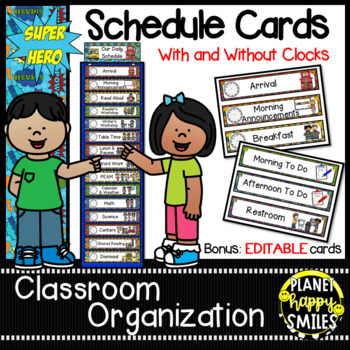 Schedule Cards with Clocks & EDITABLE slide ~ Super Hero Theme