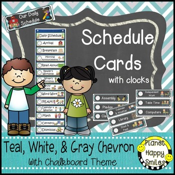 Schedule Cards with Clocks, Teal and Chalkboard Theme + EDITABLE slide