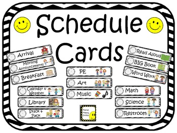 Schedule Cards with Clocks~Black & White Chevron