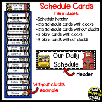 Schedule Cards with Clocks~Black & White Polka Dots with (EDITABLE) slide