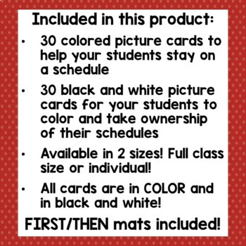 Classroom Schedule Cards with First/Then Mats