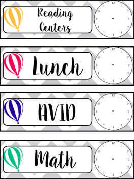 Schedule Cards with Hot Air Balloons and Clocks