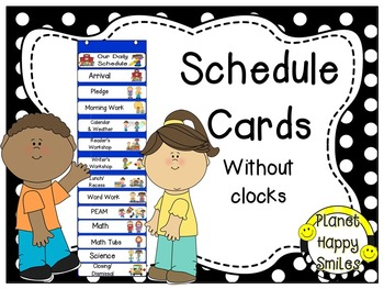 Schedule Cards without Clocks~Black & White Polka Dots with (EDITABLE) slide
