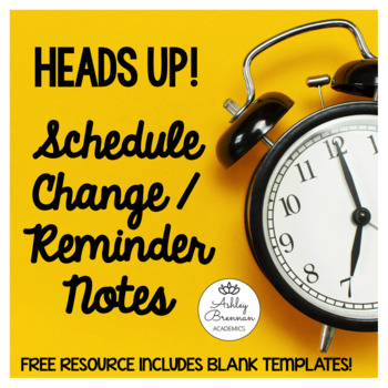 Schedule Change Cards for Special Education Students