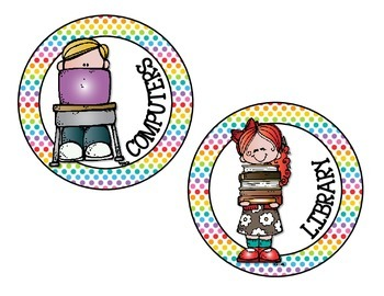 Schedule Circle Tags - Rainbow Dots