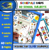 Schedule/Class Subject Cards (Upper Elementary/Middle School) 5 Pages/60 Cards!