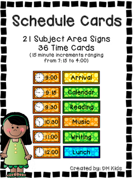 Schedule - Daily Schedule Cards - Subject areas and clock time cards