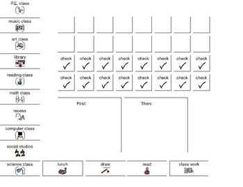 Schedule, First/Then board, check list