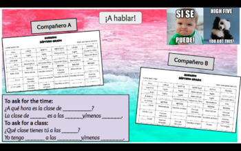 Schedule (Horario escolar) Information Gap - *EDITABLE* *Differentiated*