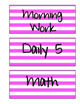 Schedule Labels (Pink Stripe)