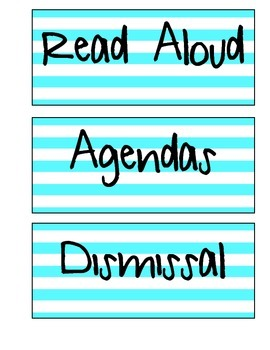 Schedule Labels (Turquoise Stripe)