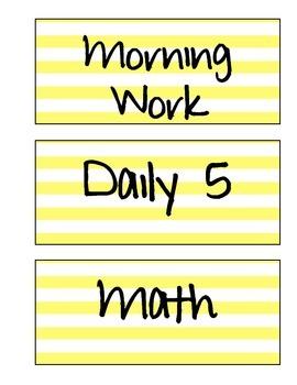 Schedule Labels (Yellow Stripe)