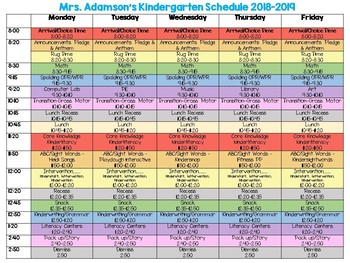 Schedule Layout for the Elementary Classroom - Fully Editable