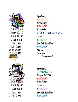 Schedule M-F posters templates
