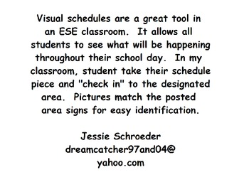 Schedule Pieces for an ESE Classroom