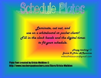 Schedule Plates for Pocket Chart