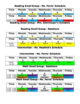 Reading and Math Center Schedule Rotation for Teachers