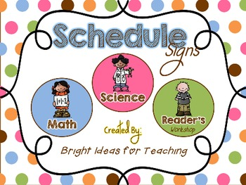Daily Class Schedule Signs {Chocolate Polka Dots Decor}