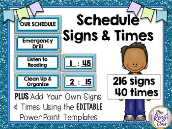 Schedule Posters & Times (216 Signs and 40 Times plus Editable Templates)
