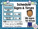 Schedule Posters & Times   216 Editable Schedule Signs and 40 Times