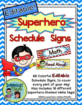 Schedule Signs: Superhero Theme Editable