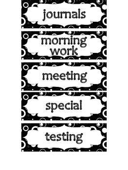 Schedule Signs in Black and White